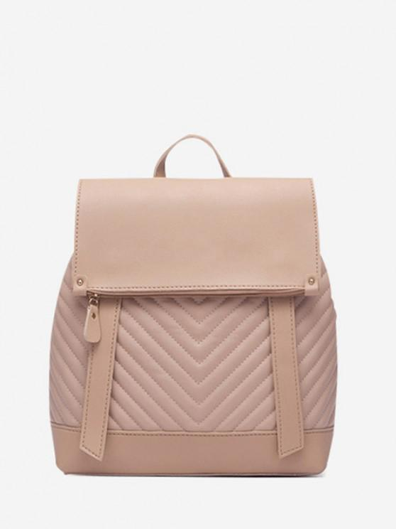 sale Flap Chevron-Quilted Topstitching Spliced Backpack - APRICOT