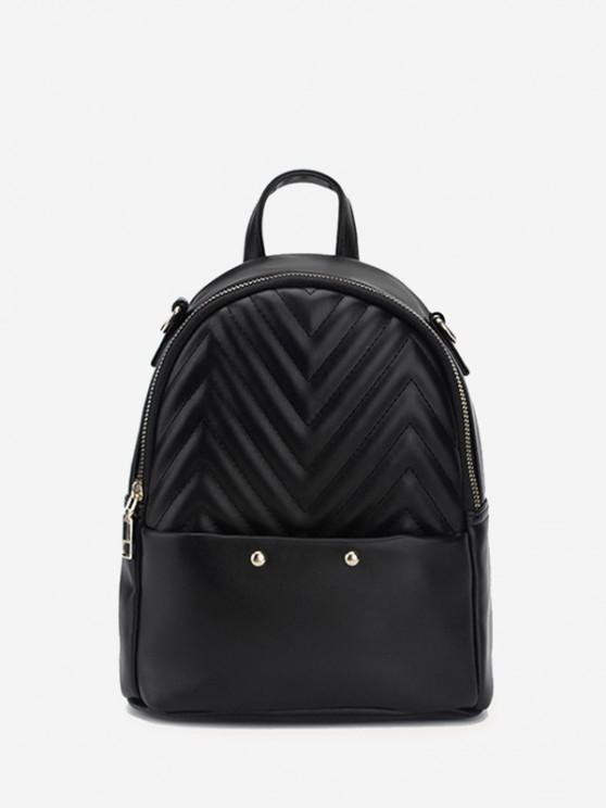 affordable Stitching Chevron Pattern PU Backpack - BLACK
