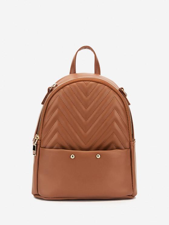 buy Stitching Chevron Pattern PU Backpack - CAMEL BROWN
