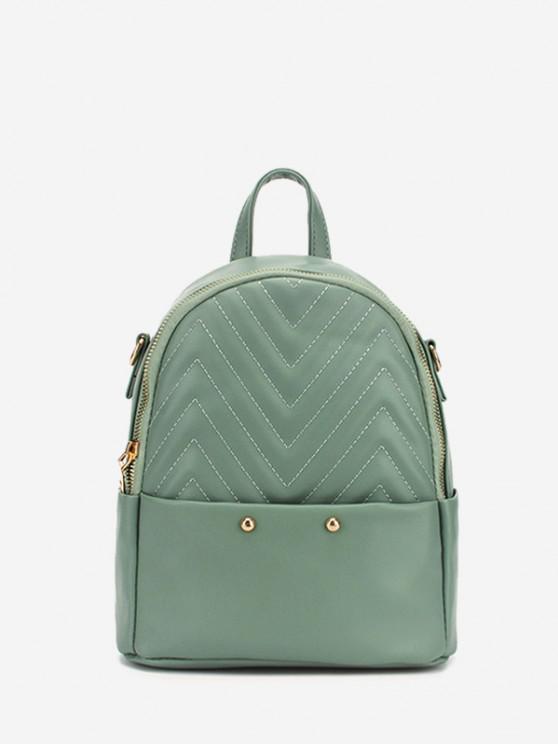 womens Stitching Chevron Pattern PU Backpack - LIGHT GREEN