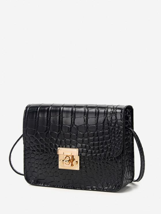 outfit Square Embossed Twist-Lock Mini Crossbody Bag - BLACK