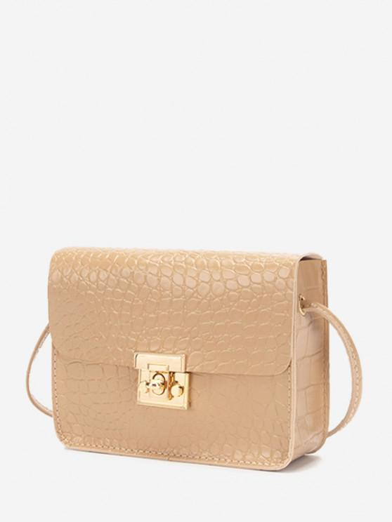 shops Square Embossed Twist-Lock Mini Crossbody Bag - TAN