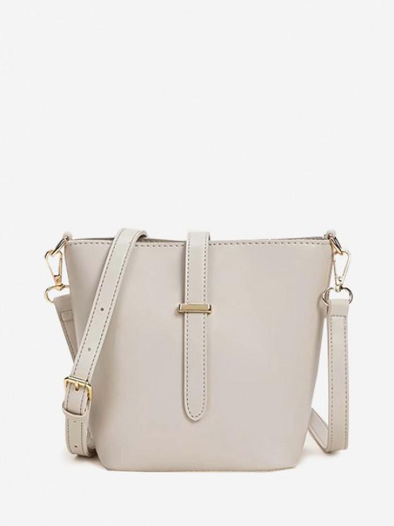 latest Square Large Capacity Topstitching Shoulder Bag - WHITE