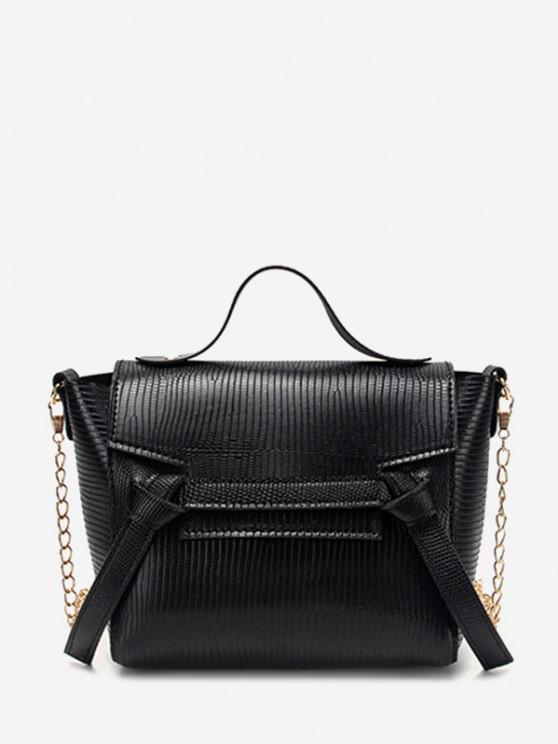 fashion Embossed Knot Chain Flap Crossbody Bag - BLACK