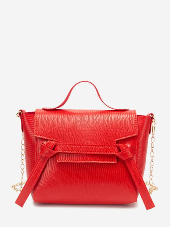 chic Embossed Knot Chain Flap Crossbody Bag - RED