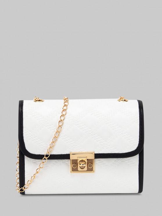 fancy Versatile Plaif Embossed Crossbody Bag - WHITE