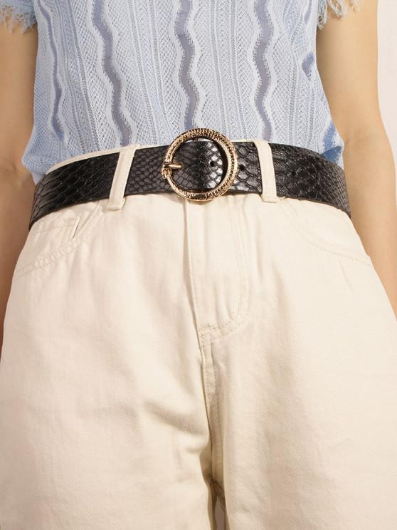 Cintura Stampata Pelle di Serpente con Fibbia - Nero