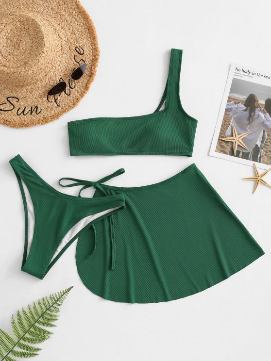 ZAFUL Ribbed One Shoulder Three Piece Bikini Swimwear - ديب غرين L
