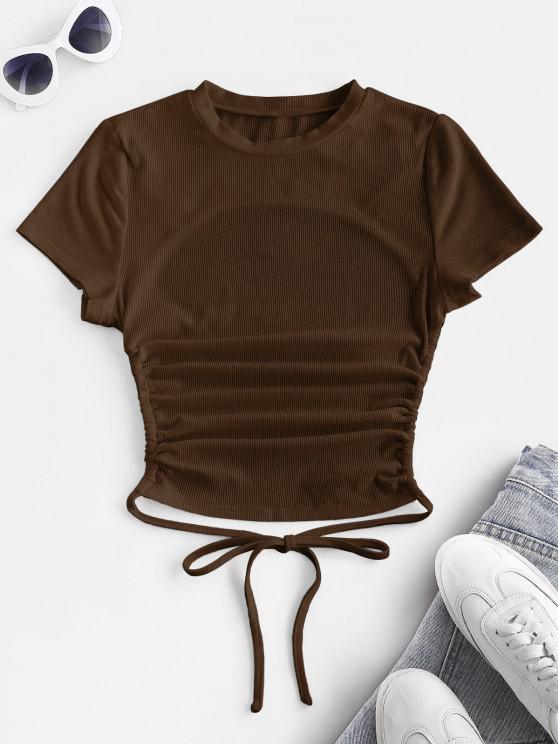 unique ZAFUL Ribbed Open Back Short Sleeve Basic T Shirt - COFFEE L