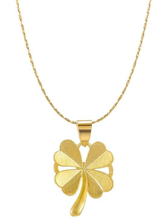 fashion Four-leaf Pattern Plated Gold Chain Necklace - GOLDEN