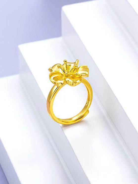online 24K Plated Gold Flower Pattern Finger Ring - GOLDEN