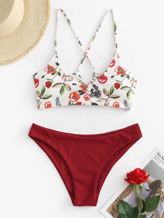 ZAFUL Ribbed Flower Print Lace Up Cheeky Bikini Swimwear - أحمر عميق M