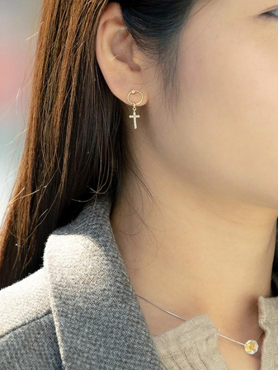 Rhinestone Cross Pattern Drop Earrings - ذهبي