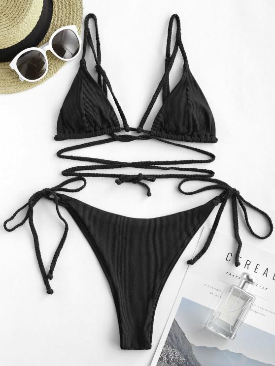 ZAFUL Ribbed Braided Strap Tie Side String Bikini Swimwear - أسود S