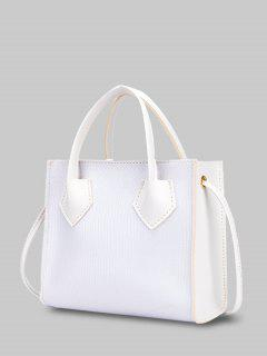 Minimalistic Boxy Embossed Dual-Handle Tote Bag - White