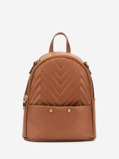 Stitching Chevron Pattern PU Backpack - Camel Brown