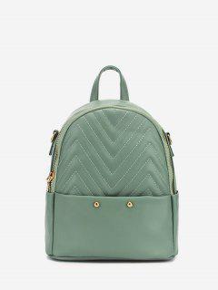 Stitching Chevron Pattern PU Backpack - Light Green