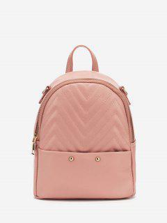 쉐브론 패턴 PU 배낭을 바느질 - 라이트 핑크