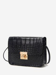 Square Embossed Twist-Lock Mini Crossbody Bag - Black