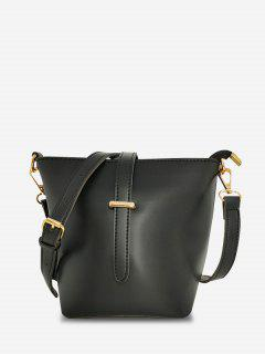 Square Large Capacity Topstitching Shoulder Bag - Black