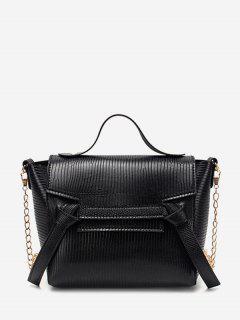 Embossed Knot Chain Flap Crossbody Bag - Black