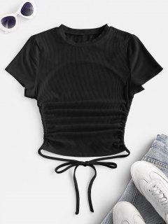 ZAFUL Ribbed Open Back Short Sleeve Basic T Shirt - Black L