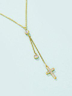 Dangle Chain Cross Charm Necklace - Golden