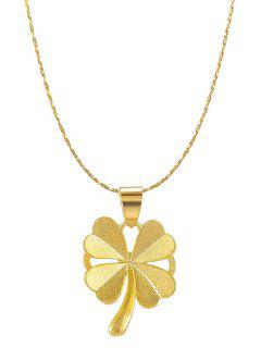 Four-leaf Pattern Plated Gold Chain Necklace - Golden