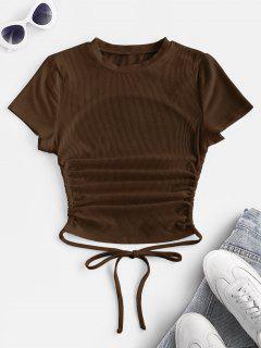 ZAFUL Geripptes Kurzärmliges Basik T-Shirt Mit Offenem Rücken - Kaffee M