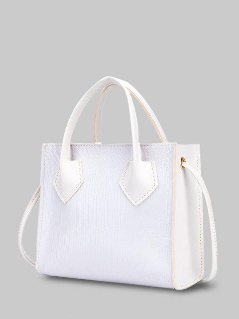 ミニマリズム箱型のデュアルハンドルトートバッグ - 白  Mobile