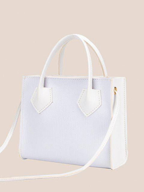 buy Minimalistic Boxy Embossed Dual-Handle Tote Bag - WHITE  Mobile