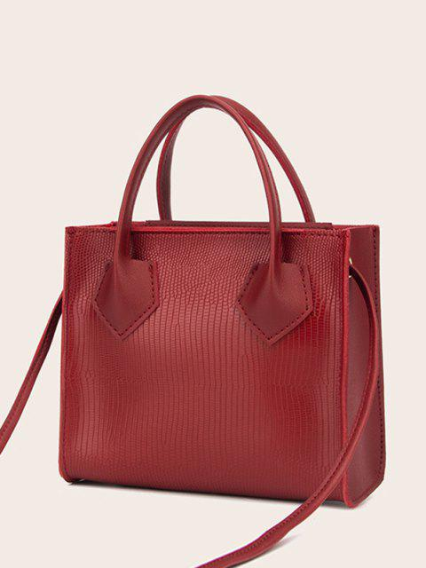 womens Minimalistic Boxy Embossed Dual-Handle Tote Bag - RED WINE  Mobile