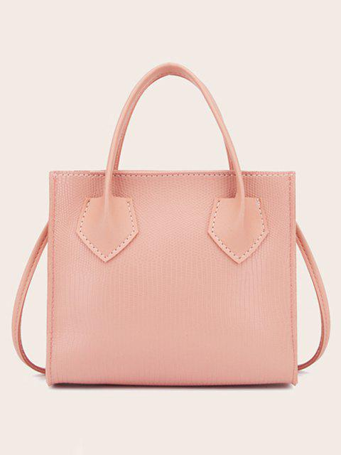 Minimalistic Boxy Embossed Dual-Handle Tote Bag - وردي فاتح  Mobile