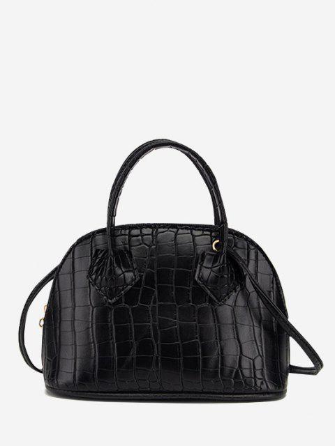 women's Embossed Dual Handle Flat-Base Crossbody Bag - BLACK  Mobile