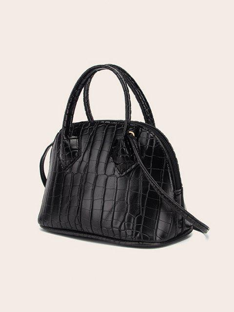 women's Embossed Dual Handle Flat-Base Crossbody Bag - BLACK  Mobile