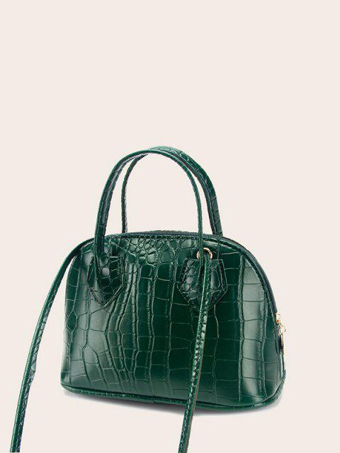 lady Embossed Dual Handle Flat-Base Crossbody Bag - DEEP GREEN  Mobile