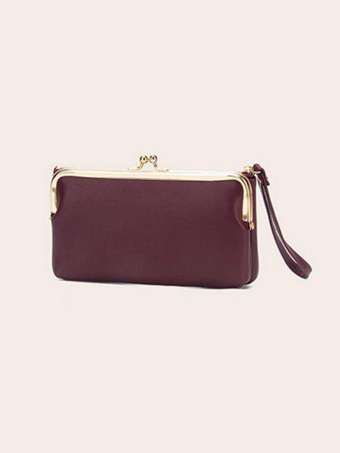 trendy Letter Print PU Clutch Bag - DEEP RED REGULAR Mobile
