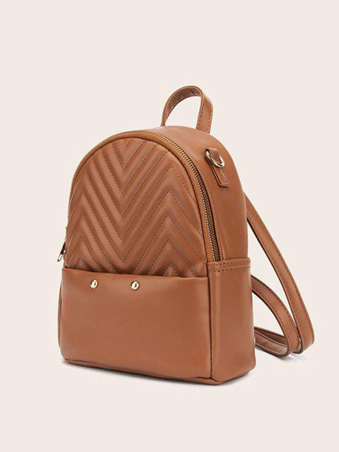 buy Stitching Chevron Pattern PU Backpack - CAMEL BROWN  Mobile