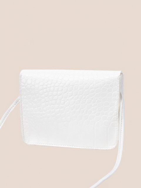 Quadratische Geprägte Twist Verschluss Mini Umhängetasche - Weiß  Mobile