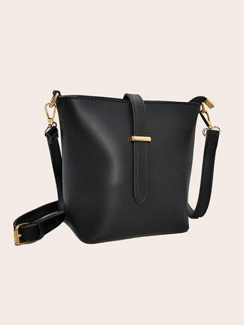 trendy Square Large Capacity Topstitching Shoulder Bag - BLACK  Mobile