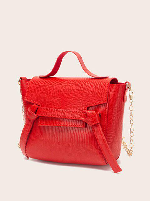 chic Embossed Knot Chain Flap Crossbody Bag - RED  Mobile