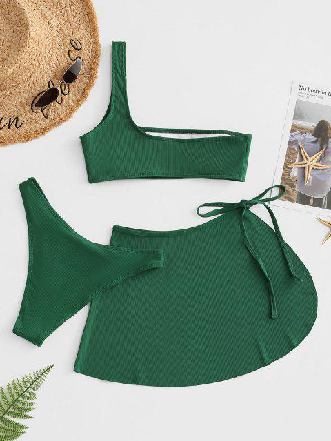 hot ZAFUL Ribbed One Shoulder Three Piece Bikini Swimwear - DEEP GREEN S Mobile