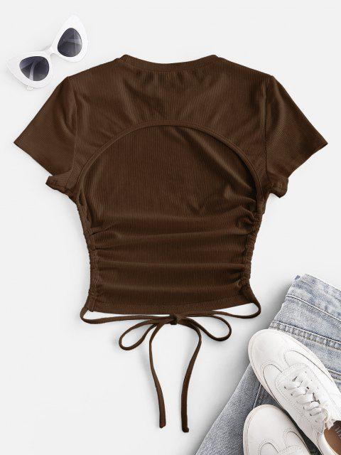 women's ZAFUL Ribbed Open Back Short Sleeve Basic T Shirt - COFFEE XL Mobile
