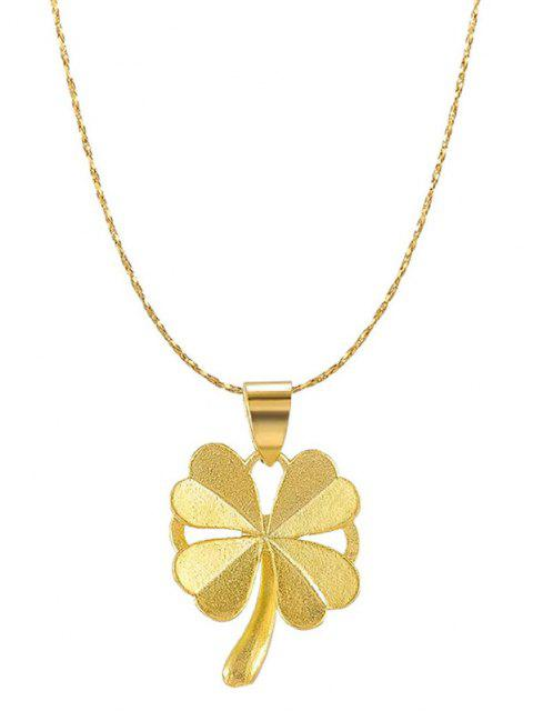 fashion Four-leaf Pattern Plated Gold Chain Necklace - GOLDEN  Mobile