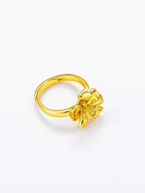 24Kメッキゴールド花柄の指輪 - ゴールデン  Mobile