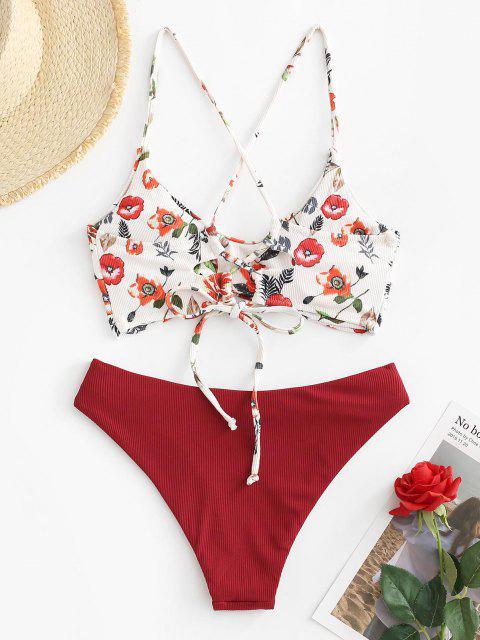 Costume da Bagno Bikini Cheeky Stampato Floreale a Costine con Lacci di ZAFUL - Profondo rosso M Mobile