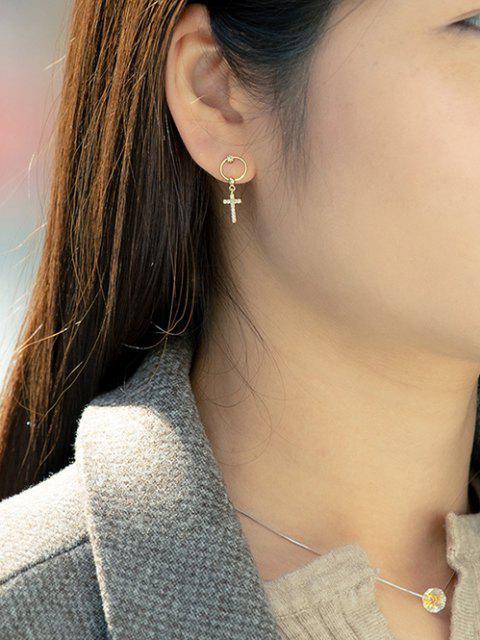 new Rhinestone Cross Pattern Drop Earrings - GOLDEN  Mobile