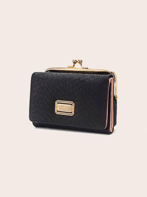 Kiss Lock Textured Tri-Fold Wallet - أسود منتظم Mobile
