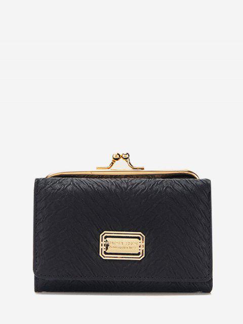 ロックテクスチャ三つ折り財布 - ブラック レギュラー Mobile