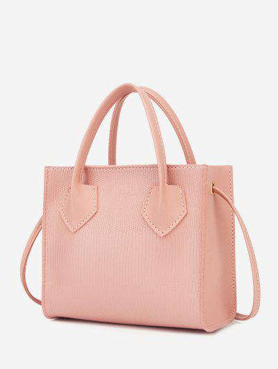 Minimalistic Boxy Embossed Dual-Handle Tote Bag - Light Pink